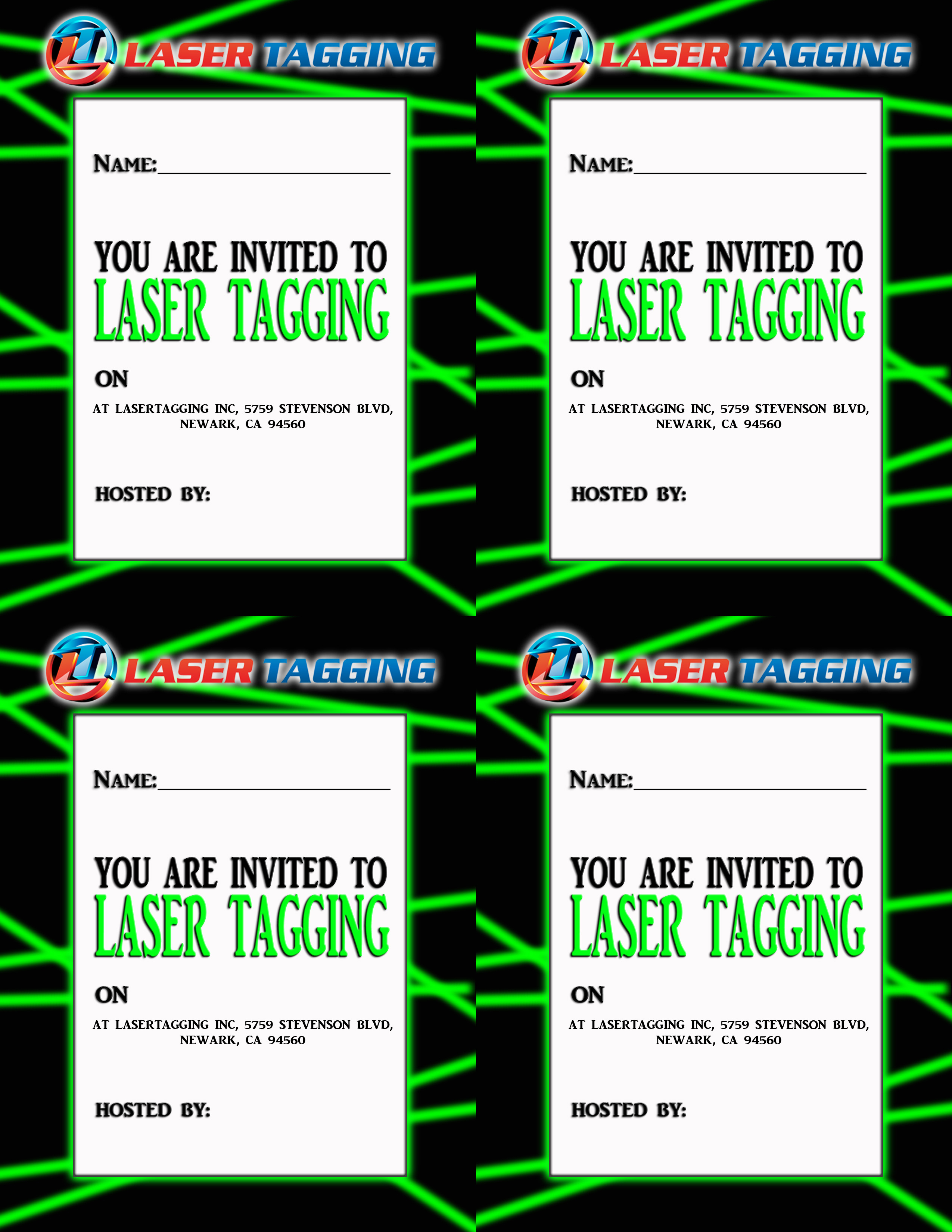 This is a graphic of Impertinent Printable Laser Tag Birthday Invitations